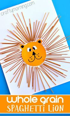 Whole Grain Spaghetti Lion Craft for Kids to make! #Lion art project | http://CraftyMorning.com