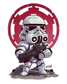 Chibi Stormtrooper Art by Derek Laufman -----------------------------------. Star Wars Fan Art, Star Trek, Star Wars Cartoon, Cartoon Art, Star Wars Karikatur, Cadeau Star Wars, Sketch Style, Chibi Marvel, Chibi Superhero