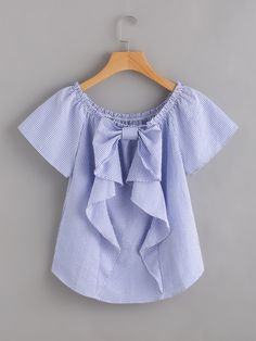 Cheap blouse blue, Buy Quality vertical striped blouse directly from China blouse fashion Suppliers: Sheinside Vertical Striped Blouse Blue Cute Bow Frill Trim Women Tops 2017 Fashion Summer Casual Ruched Boat Neck Tunic Blouse Fashion 2017, Girl Fashion, Fashion Dresses, Blouse Styles, Blouse Designs, Kids Outfits, Cute Outfits, Modelos Plus Size, Couture