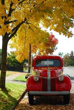 vintage red truck on an autumn afternoon by lydiafairy, via Flickr