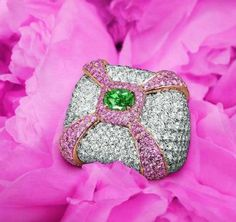 Fancy Vivid Green and pink diamonds.