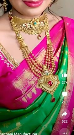 Vaddanam Designs, Gold Mangalsutra Designs, Gold Jewellery Design, Antique Jewellery, Gold Jewelry, Beaded Jewelry, Jewelry Bracelets, Gold Necklace, Embroidery Suits Design