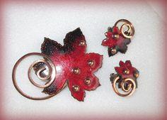 Vintage Copper Matisee Pin and Earrings Enamel by suburbantreasure