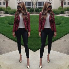 Red Leather Jacket Black Leather Pants  White Shirt Gold Cap Toe Shoes