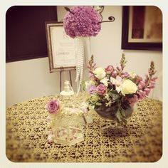 Gold and Purple. Glory lace overlay with beautiful floral ideas from our friends at The Wedding Vail in Dallas, TX.
