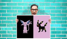 Pokemon Espeon and Umbreon eevee evolutoin Face Art - Wall Art Print Poster 16x23 Inch - Kids Children Bedroom Geekery