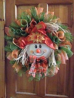 Fall Deco Mesh Wreath Scarecrow Thanksgiving by Virginia Quilling