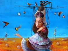 Merab Gagiladze -  Time Modern Surrealism, Figure Painting, Contemporary Paintings, Love Art, Amazing Art, Oil On Canvas, Fantasy Art, Wonderland, Gallery