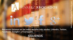 Alvarez Abogados Tenerife, disponible en las principales redes sociales, Facebook, twitter, linkedin, google+ y foursquare.