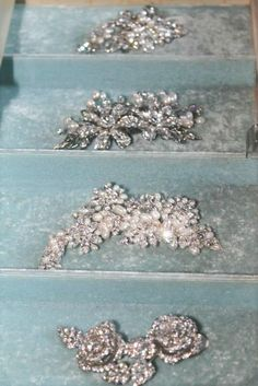 Charming, sparkly hair clips sold at A Bride's Design in Avon, Ohio