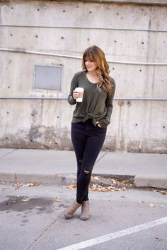 Knot-Front Top With Skinny Jeans and Booties