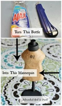 Vintage Style Mini Mannequin Upcycle Turn an old dish soap bottle into the cutest mini mannequin you ever saw! Use to decorate or to display or story bracelets. Jewellery Storage, Jewellery Display, Jewelry Organization, Craft Fair Displays, Display Ideas, Magnolia Design, Bracelet Display, Craft Show Ideas, Jewelry Stand
