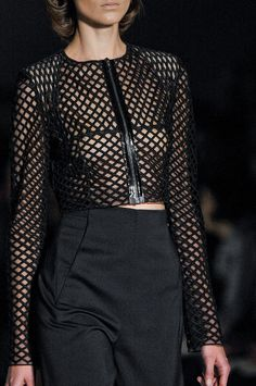 Cropped jacket & high-waisted trousers; sporty chic fashion details // Marios Schwab Spring 2012
