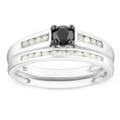 10K White Gold 1/2 CT TDW Round Black and White Diamond Bridal Set Ring (G-H, I3) Amour. $371.99