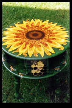 Sunflower Accent Table by ReincarnationsDotCom on DeviantArt Funky Painted Furniture, Paint Furniture, Repurposed Furniture, Furniture Makeover, Cool Furniture, Futuristic Furniture, Furniture Design, Furniture Movers, Accent Furniture