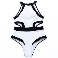 Picture of Black White Bandage Vintage High Neck Bikinis Swimwear Women One Piece Swimsuits Bathing Suits