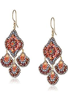 Miguel Ases Soft Pink Pyrite and Swarovski Chandelier Drop Earrings