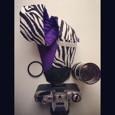 """""""Sophie"""" Camera Strap with a purple backing! How cute is this?  I'm sure it will hit Polish Vogue here soon!"""