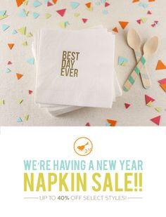 We're having a great big New Year Napkin Sale! We're making room for brand new designs so all of our boxed napkins are on sale (even the most popular ones!), including clearance items up to 40% off. Be sure to stop by the shop to stock up! http://www.betsywhite.com/napkins-ready-to-ship-78-ctg.htm | #cocktailnapkins #sale #weddingnapkins