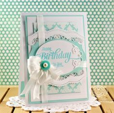 Birthday Card Making Idea by Becca Feeken using JustRite Papercraft Extra Grand Birthday Sentiments and Spellbinders