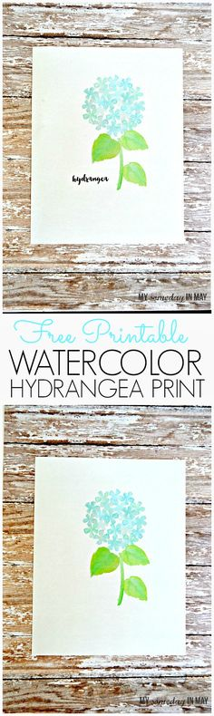 This free printable hydrangea print is the perfect way to brighten your home for spring!