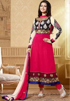 Pink & Off White Color Embroidery & Zari Patch Lace Border Work Anarkali Suit With Pink Color Santoon Bottom