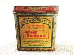 Vintage Twinings tea tin box on Etsy.