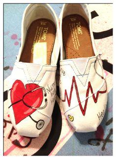 A Custom Hand-Painted Toms Nurse Slip-on