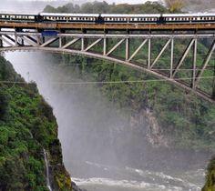 Rovos Rail on the bridge between Zambia and Zimbabwe