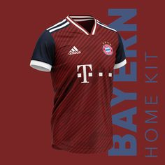 Bayern München football kit on Behance Soccer Kits, Football Kits, Football Jerseys, Basketball Jersey, Football Shirt Designs, Football Design, Camisa Retro, Adidas Kit, Sports Jersey Design
