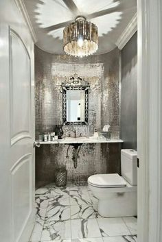 High Impact Powder Room Gorgeous Luxurious Mirror And Tile In Bathroom Interior Home Decor Decorating Ideas