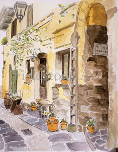 This is a 5x7 print of my original watercolour of a back street cafe in the Italian Lake District. Orta San Giulio is a picturesque village on Lake Orta in Italy. Its closed to regular vehicle traffic, so if your looking for a quiet little place for a holiday, and you dont mind walking a little, Orta San Giulio is one place I would highly recommend. It definitely has a slow pace to it. And if you find this little out-of-the-way cafe, tell them I said hi. The watermark will not appear on…