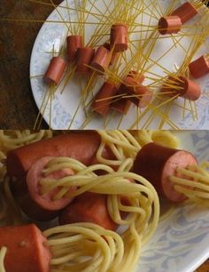 Hot dogs and spaghetti that looks funny? Sounds like perfect toddler food!