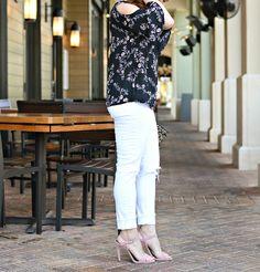 floral print cold shoulder blouse for under $25 // the modern savvy