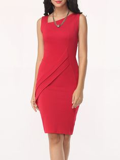 Buy Asymmetric Neck Split Plain Bodycon Dress online with cheap prices and discover fashion Bodycon Dresses at Fashionmia.com.