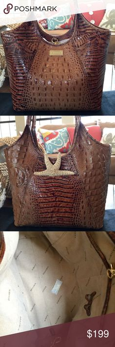 """🌻BRAHMIN TOASTED ALMOND SHOPPER TOTE Iconic Toasted Almond Brahmin Small Shopper Tote  EXCELLENT CONDITION, carried about 4 times  No wear, no interior marks or stains   Nameplate is in beautiful condition  Back slip pocket for phone   Fastens with goldtone lobster claw clip. Interior has 2 slips pockets, 1 large deep zipper compartment.   Measurements:  L 14""""top, 12""""bottom   H 10.5""""sides, 9.5""""center  D 5""""  Handle drop 9""""- fits over shoulder   * measurements are approximate due to style…"""