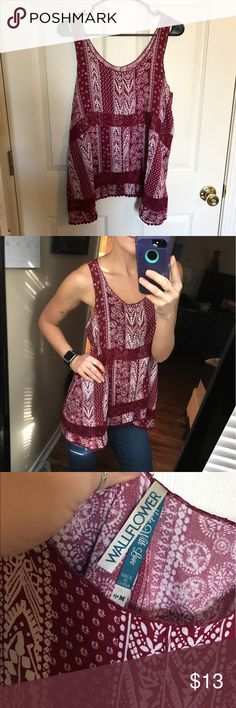 Asymmetrical tunic tank Super cute maroon and white tunic tank top, size medium!   No holes or stains. No trades. Bundle for discounts!  Or shoot me an offer!! Tops Blouses