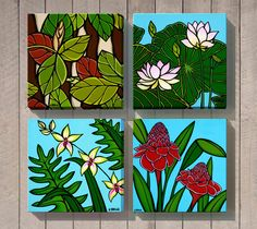 Hawaiian Botanical Series by North Shore Oahu Artist Heather Brown HeatherBrownArt.com