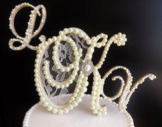 Triple Letter Monogram Wedding Cake Topper  Ivory Pearls & rhinestones by ParisBakeryPretties