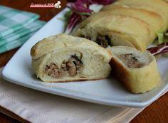 Treccia di pane con salsiccia e rucola Bagel, Sandwiches, Pizza, Bread, Armenia, Collage, Food, Design, Collages