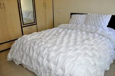 """White cotton Smocked duvet cover king & queen size (110""""W X 102""""L) Silk n Drapes and More,http://www.amazon.com/dp/B00B78IK10/ref=cm_sw_r_pi_dp_xyyAsb1SK3XHPS7D"""