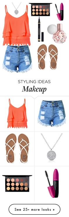 """summer outfit"" by sparkles1336 on Polyvore featuring Glamorous, Topshop, Billabong, Yves Saint Laurent, Revlon and MAC Cosmetics"