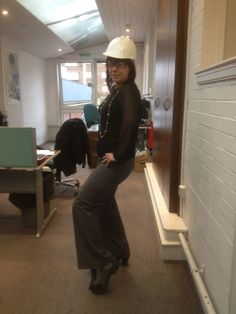 Our lovely Head of Projects Sarah taking her role and onsite safety very seriously, even in the office