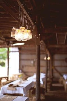 Rustic/Country Wedding Idea ~ Several mason jars strung together by Seradwen