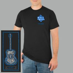 House of Blues Star Guitar Tee - Pre-shrunk, 100% black cotton T-shirt with Heart logo and location on front left chest and Star Guitar design with slogans incorporated as a full back screen print., $25