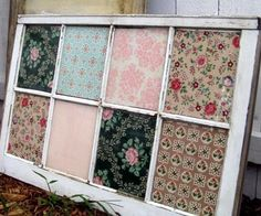 Old window backed with wallpaper samples - Just one word of caution when using old windows. Lots of old windows have been painted with lead paint. I would wear a mask, remove all paint, sand and repaint if reusing a window.You can distress it.... Better to be safe with a faux distress than sick with lead poisoning.