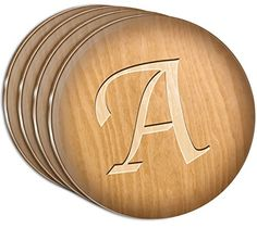 Custom  Cool 4 Inches Set Pack of 4 Round Circle Flat  Smooth Texture Drink Cup Coasters Made of Acrylic w Script Letter A Initial Engraved Wood Monogram Look Design Colorful Brown  Tan -- Check this awesome product by going to the link at the image.