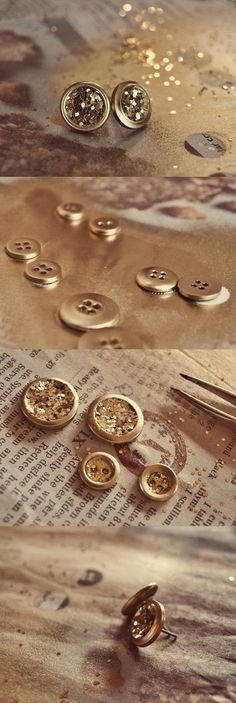 Glitter earrings with buttons