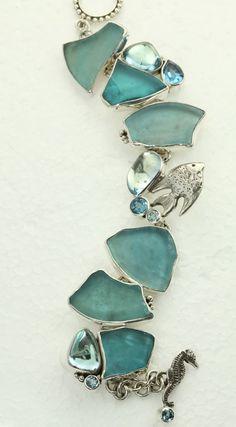 Mars & Valentine Blue Sea Glass Bracelet