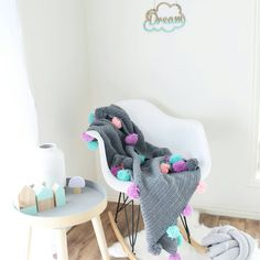 Hand Crocheted Baby Blanket Throw With Pom by BellboniBoutique